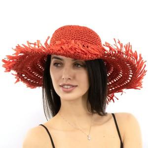 Шляпа SumWin ВЯЗАНАЯ с бахромой красный