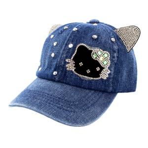 Бейсболка детская СС Hallo Kitty ушки тем.джинс р.54