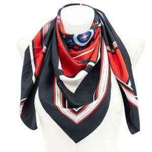 Платок АТЛАС 90*90 Радуга черный/красный