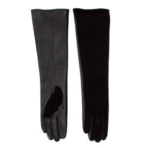Перчатки кожаные длинные утепленные черные 10 шт